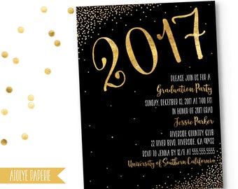 Graduation Party Invitation, Graduation Invite, Black Gold Polka Dots Graduation Party, Gold Polka Graduation,Shimmery Gold,Printable, 2017