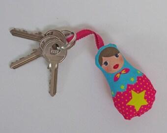 Pink star matryoshka Keychain yellow