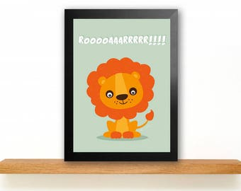 A4 Lion Poster Children's Room picture Kids poster