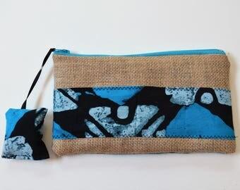 Makeup bag, blue batik.