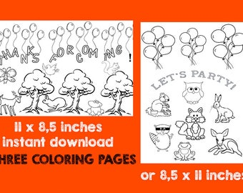 Printable WOODLAND Coloring Page- Digital - Instant Download Forest Animals, rabbit fawn, owl, fox, deer, squirrel, raccoon, frog
