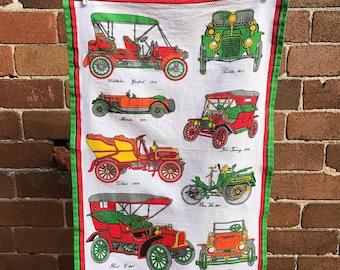 Vintage Cars Green - unused vintage cotton teatowel