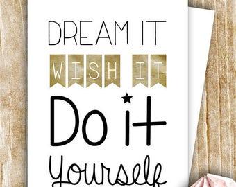 Positive words card :)) dream, love...