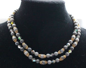 UNN # 13 Vintage Two Strand Gray Bead and Gold Tone Accent Necklace
