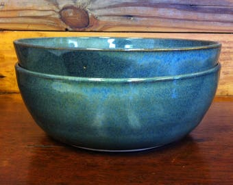 TWO Handmade Pottery Serving Bowls / Salad Bowls / Soup Bowls ~ Hand Thrown ~ Blue with Green Undertones