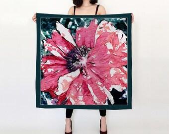 Watercolor Poppy Square Silk Scarf