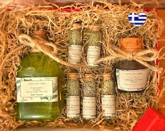 Greek Olive Oil Gift Box Pure Raw Wildflower Forest Honey Gift for Her Cooking Gift Set Wild Mountain Herbs Christmas New Year Gift for Mom