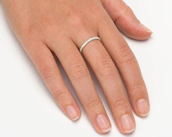 Cubic Zirconia wedding band, Engagement ring for woman, Cubic Zirconia eternity band, Engagement ring size 4, Wedding band woman
