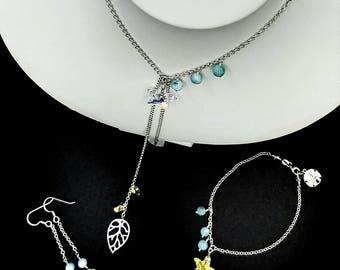 Swarovski Starfish and Seashell and Larimar Trio Jewelry Set