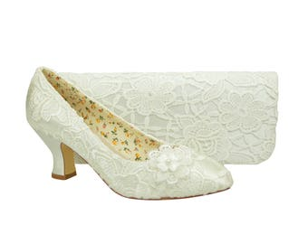 Ivory Lace with  Flower Detail Mid Heel Bridal Weddings Courts & Matching  Bag