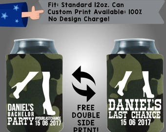 Name's Bachelor Party Last Chance Date Collapsible Neoprene Wedding Can Cooler Double Side Print (Bach57)