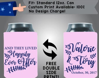 And They Lived Happily Ever After Names Date - Personalized Can Coolers, Custom Collapsible Neoprene Beer Can Coolers, Wedding Favors (W358)