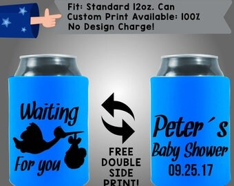 Waiting for you Name's Baby Shower Collapsible Neoprene Baby Shower Can Cooler Double Side Print (BS124)