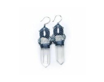 Crystal macrame earrings