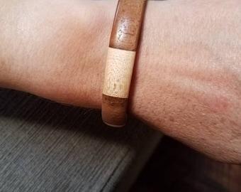 Maple and walnut solid wood bangle bracelet.