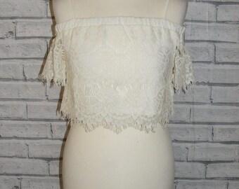 Size 10 vintage 90s style bardot off shoulder festival crop top crochet lace