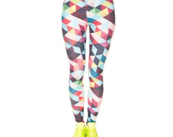 Multicolor Triangle Patterned Leggings