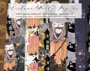 Halloween Digital Paper, Fall Digital Paper Set, Fashion Paper Set, Glitter Paper Set, Witch, Cat, Pumpkin, Spider, Gold, Glitter, Galaxy
