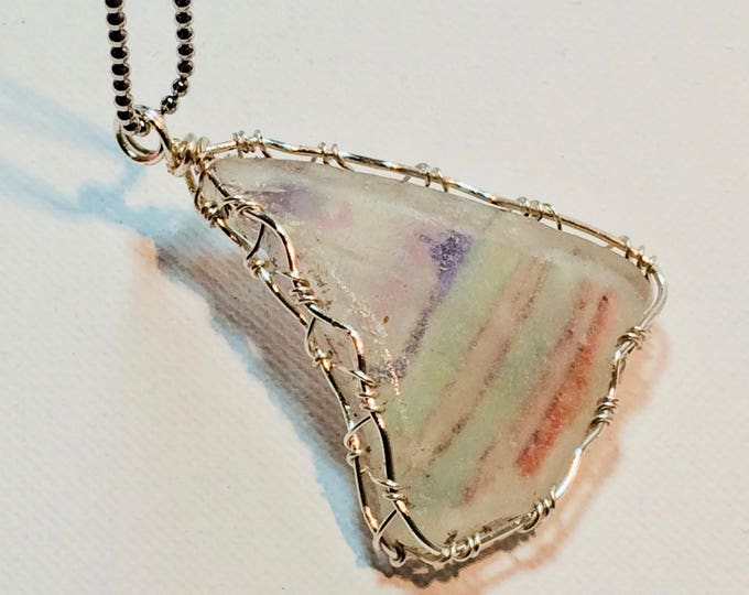 "Large Beach Glass pendant with 34"" chain - Wire Wrap Beach Scene Beach Glass -Lake Michigan - Chicago Skyline"