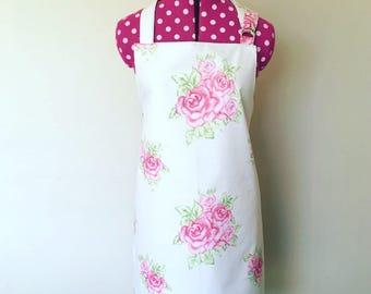 apron set, womens apron, girls apron, baking apron, rose apron, cream apron, rose fabric, flower apron, Floral apron, cream aprons, cooking