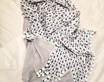 Elephant Swaddle Flannel Blanket