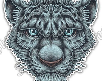Tiger Blue Face Cat Wild Life Animal Car Bumper Vinyl Sticker Decal