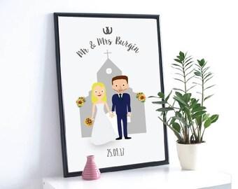 Bride and groom illustration, Wedding gift, Gift for wedding, Bride and groom personalised print