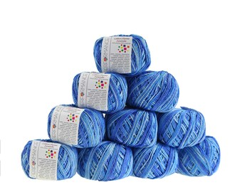 10 x 50 g cotton flame Cardigan, free choice of color gradients (color: sea colors)