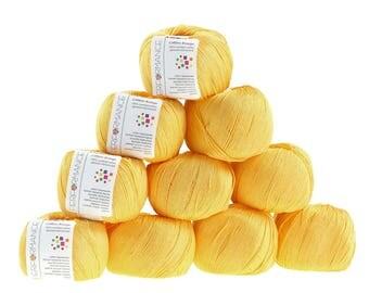 10 x 50 g knitting wool cotton breeze, #182 yellow