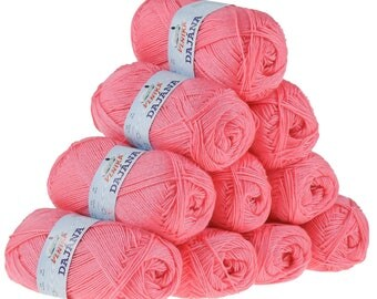 10 x 50 g knitting wool Dajana uni by VLNIKA, #470 pink