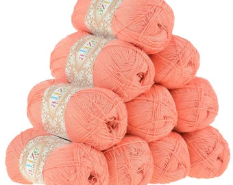 10 x 50g crochet/knitted yarn Alize Forever, #619 Coral