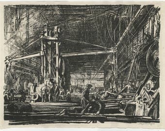 "DAVID MUIRHEAD BONE (Scottish, 1876-1953), ""Building Ships: A Workshop"", 1917, original lithograph, pencil signed."