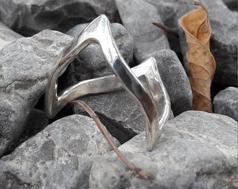 Silver ring, sterling silver ring, ring in tips, silver, ring, silver ring, made by hand, Elf, sterling silver, stylish ring.