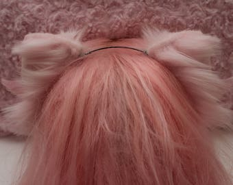 Pink Kitten Ears With Wing Clips