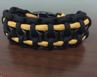 Black and Gold Hex Nut Paracord Bracelet