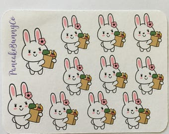 Bunny grocery planner stickers
