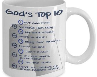 Christian Coffee Mug - Gods Top 10 - Commandments - Jesus - Gift For Her - Gift For Him