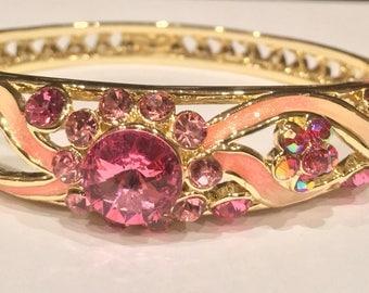 Cloisonne Enamel Floral Design Hinged Bangle Bracelet