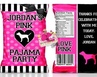 Victoria's Secret Pink inspired chip bags, treat bags, favor bags for a birthday or baby shower. Sweet 16, sleepover favors. DIGITAL FILE