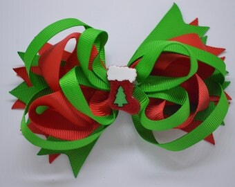 Christmas Tree Stocking - Hair Bow Clip - 12.5cm