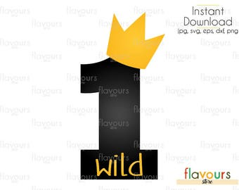 1 Wild - INSTANT DOWNLOAD - For Cutting or Iron on - Clipart in Svg, Eps, Dxf, Png, and Jpeg