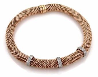 Mid century 14k rose gold 2.75 Ctw diamond  necklace #10158