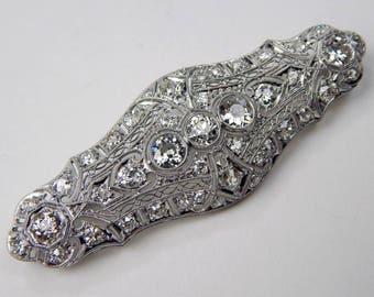 Art Deco Platinum 3.85 Ctw old european cut diamond brooch #10647