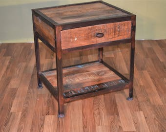 rustic industrial style reclaimed wood and metal end table with storage nightstand with one drawer