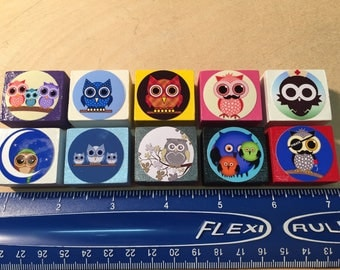 Cute Owl Magnets Made Of Wood - Set of 10 - FREE SHIPPING