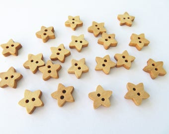 20 Christmas buttons - wooden buttons - star buttons