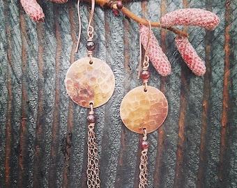 Copper Moon and Garnet Dangle Earrings