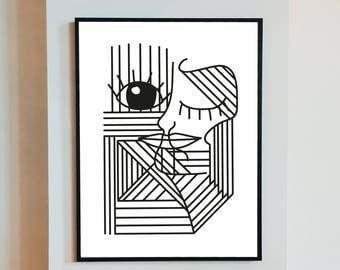 Chica - art download original illustration, minimalist, black and white, line, abstract, portrait, female, geometric, Irish, monochrome