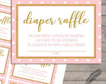 Gold Baby Pink Baby Shower Diaper Raffle Tickets, gold, glitter, polka dots, pink, digital, printable