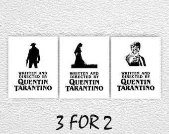 Pulp Fiction Poster, Django Unchained Poster, Kill Bill poster, Quentin Tarantino printed art, written directed by tarantino, film poster